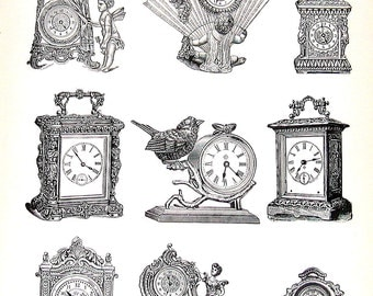 Novelty Clocks, Iron Clocks - 1968 Vintage Book Print Victorian Americana Black and White 2 Sided