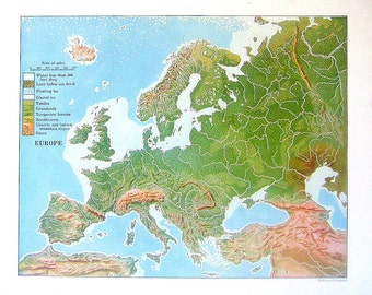 1920 Relief Map of Europe - Vintage World Geography Book Page - 11 x 9