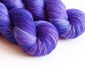 Hand Dyed Sock Fingering Yarn - Superwash Merino / Nylon - 463 yards - Jupiter - Royal Blue and Purple