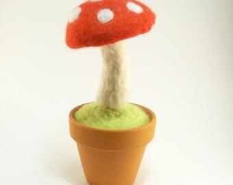 Needle Felted Toadstool Mushroom
