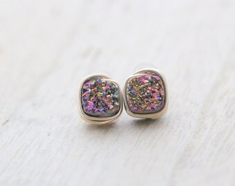Square Druzy Studs, Rainbow Titanium Bezel Wrapped Post Earrings in Gold, Rose Gold, Silver, Geometric Fashion - Unicorn