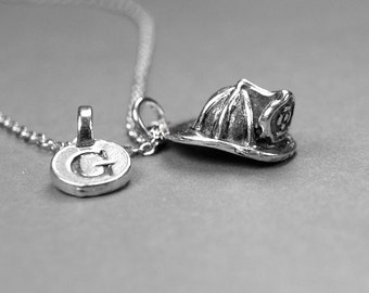Small Fireman Helmet Charm Necklace firefighter silver plated pewter, initial necklace, initial hand stamped, personalized, monogram