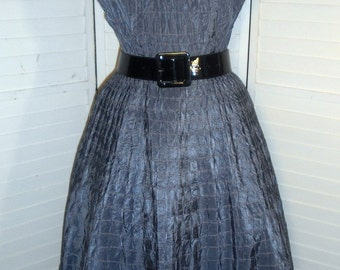 1940s Vintage Dress Beautifully Detailed Light Slate Blue Party Dress 38 Bust 30 Waist Free U S Shipping