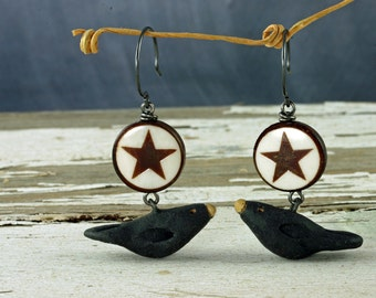 Halloween Raven Earrings Star Earrings Halloween Earrings Black Bird Earrings Crow Earrings Autumn Earrings Raven and Star Earrings