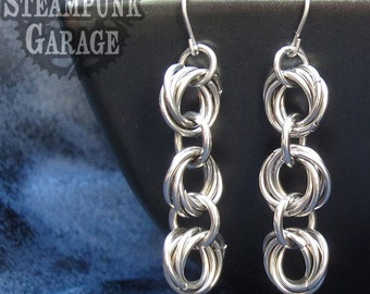 Earrings - Triple 5-ring Mobius Ball