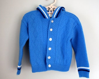 60s 70s Girls Blue Knitted Hooded Sweater 2T 3T