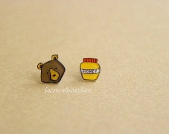 Bear and honey stud earrings - Woodland animal jewelry - wearable art jewelry