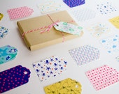 Assorted Paper tags - Hand Die Cut labels - For Holidays, Birthday, Thank you Gift - Bright and cute design - Choose your color