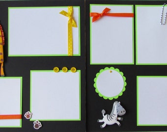 Premade 12x12 Scrapbook Pages -- ZOO -- KiD or BaBy BoY GiRL layout - a day at the zoo, family, animals, giraffe, zebra, scrapbooking, trip