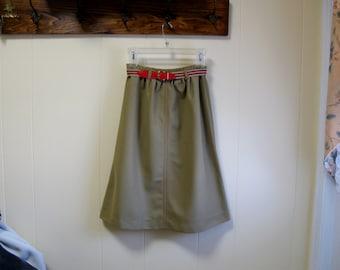 A-line Skirt with Elastic BELT Size 8, Camel Color Skirt Modest Skirt Knee Length Skirt