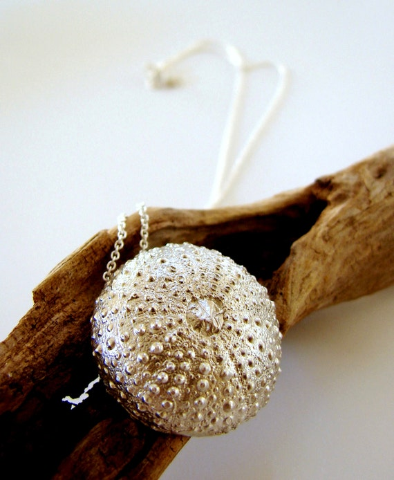 Sea Urchin Pendant Sterling Silver Jewelry Necklace Statement Jewelry