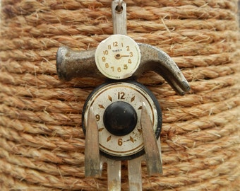 Hammerhead Fork Person Necklace Repurposed with Watch Faces, Vintage Buttons and Toy Hammer Head
