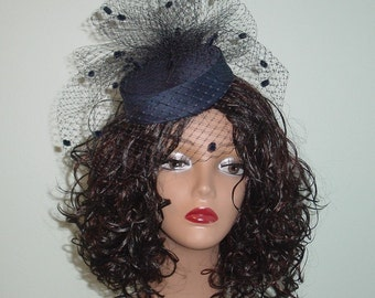 Mini Pillbox Wedding Hat Navy Blue Silk Dupioni with Birdcage Veil and Pouf Made to Order