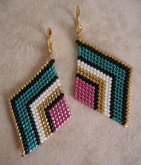 Beaded Diamond: Seed Bead Diamond Shape Earrings Teal/Pink