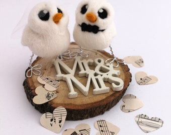 Bird Wedding Cake Topper White Mini Birds Bride and Groom Needle Felted Birds