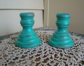 Robins Egg Blue Cottage Chic small Wood Candlesticks