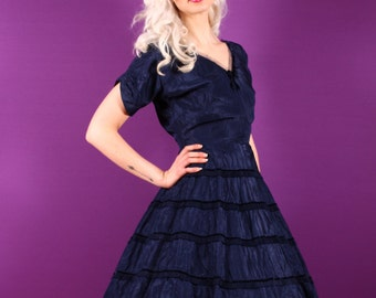 50s Navy Blue Party Dress - Taffeta and Velvet Full Skirt - Small Medium