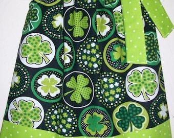 St Patricks Day Dress Pillowcase Dress Girls Dress with Shamrocks Dress with Clovers Irish Dress Lime Green Dress St Patricks Day Outfit