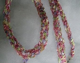 ON SALE: Handknit ribbon yarn fantasy necklace, Swarovski crystal accents