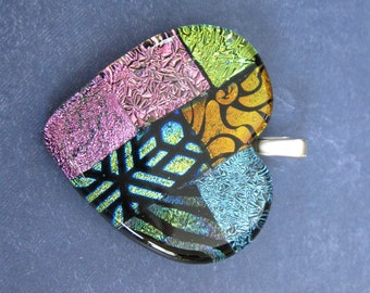 Heart Necklace, One of a Kind Dichroic Glass Jewelry, Orange Gold Aqua Blue Pink, Fused Glass Pendant, Gift for Girlfriend - Mi Amor -4617-4