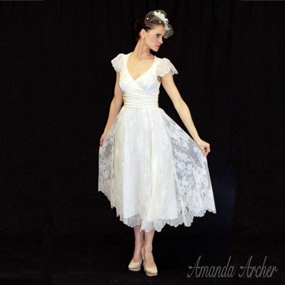 Tea length wedding dress ivory chantilly lace and by for Chantilly lace wedding dress