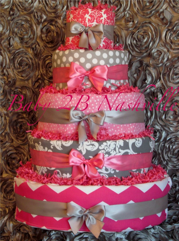 Items Similar To Diaper Cake For Girls Pink And Silver