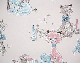 1950's Vintage Wallpaper - Nursery Childrens Vintage Wallpaper with Pink and Blue Kittens and Puppies, Cats and Dogs