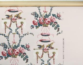 1950's Vintage Wallpaper - Vintage Floral Wallpaper with Birds and Baskets of Roses