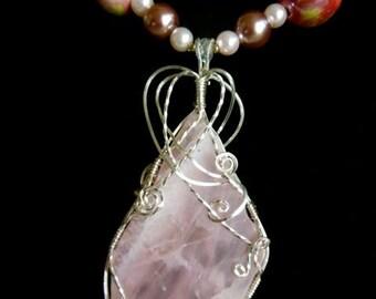 Wirewrapped Natural Pink Quartz Necklace, Pendant