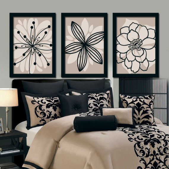 Wall art canvas artwork brown beige black flower by trmdesign for Black and beige bedroom ideas