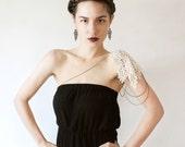 black lace earrings // ZAHRA // geometric earrings / art deco earrings / black and gold / unique modern / goth earrings /