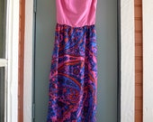 vintage beautiful LANZ pink paisley maxi dress xs/s