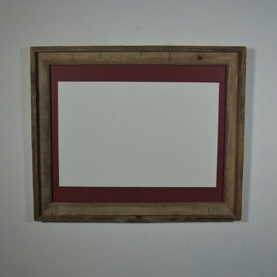 16x20 Reclaimed Wood Picture Frame With Mat For By Barnwood4u