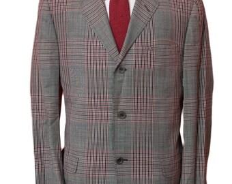 Men's Blazer / Vintage Grey Plaid Jacket / Size 42