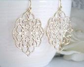 Romantische große marokkanische Gold filigrane Ohrringe. Baumeln Sie Boho-Chic-Stil Ohrschmuck. Brautjungferngeschenk. Braut Hochzeitsohrringe