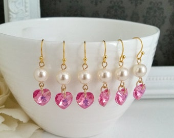 Rose Pink Swarovski Xilion Crystal Hearts with Cream Pearls Earrings. Bridal Wedding Jewelry Bridesmaid Earrings. For Her Gifts