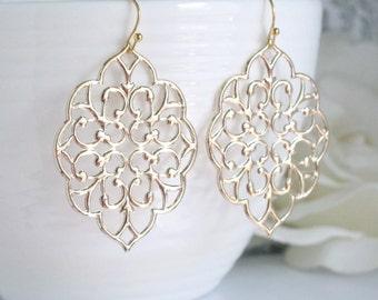 Romantic Large Moroccan Gold Filigree Earrings. Dangle Boho Chic Style Ear Jewelry. Bridesmaid Gift. Bridal Wedding Earrings