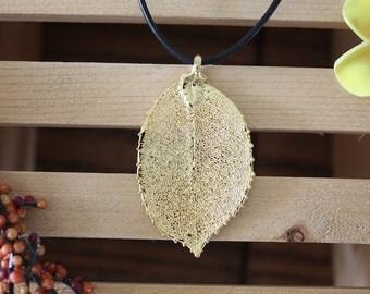 Gold Leaf Necklace, Real Leaf, Leaf Pendant, Real Rose Leaf , Rose Leaf, 24kt Gold, 35 L