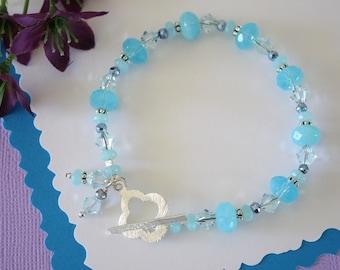 Sky Blue Bracelet, Light Blue Bracelet, Powder Blue, Gemstone Bracelet, Crystal,