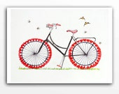 Bicycle watercolor bike painting, Bike illustration poster, Valentines Day, Love painting, Gifts for women, Bike art, Red white painting