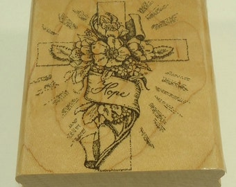 Cross With Flowers Wood Mounted Rubber Stamp