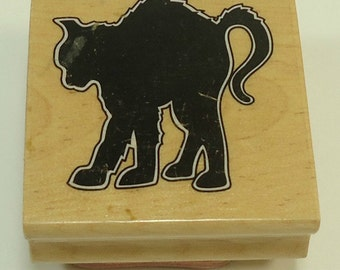 Black Cat Halloween Wood Mounted Rubber Stamp By The Canadian Maple Collection