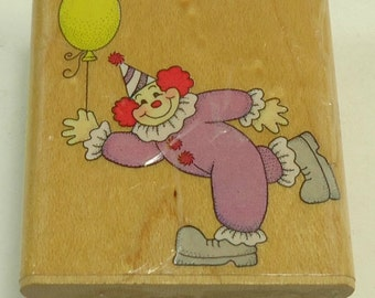 Clown With Balloons Wood Mounted Rubber Stamp By Hero Arts