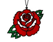 Traditional Rose Tattoo Necklace - Laser Cut Necklace (C.A.B. Fayre Original Design)