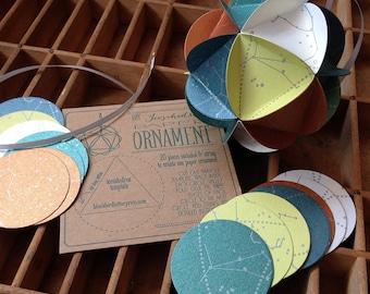 icosahedron letterpress ornament diy