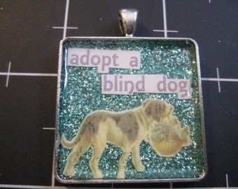 Adopt A Blind Dog Pendant: Vintage Retriever on Sea Blue Glitter, Special Needs Dogs, 50% goes to the current selected animal charity