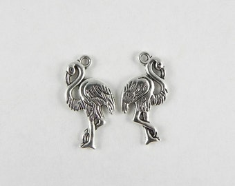 10 Flamingo Charms in Antique Silver ~ 23x12mm ~ Tropical Bird - Double Sided