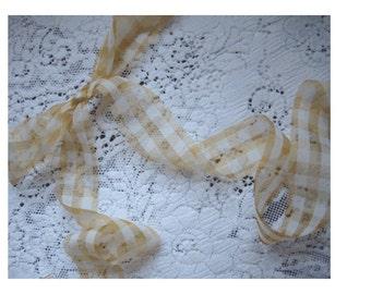 3Yards SHEER ORGANZA RIBBON - Matte Metallic Gold and Ivory Plaid - Yardage - Rustic Elegance
