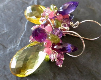 Lemon quartz and amethyst earrings - sterling silver - orchid pink, purple, yellow - wire wrapped earrings - garden party - cluster earrings