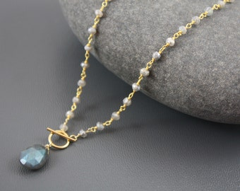 Labradorite Simple Toggle Necklace- Gold Filled